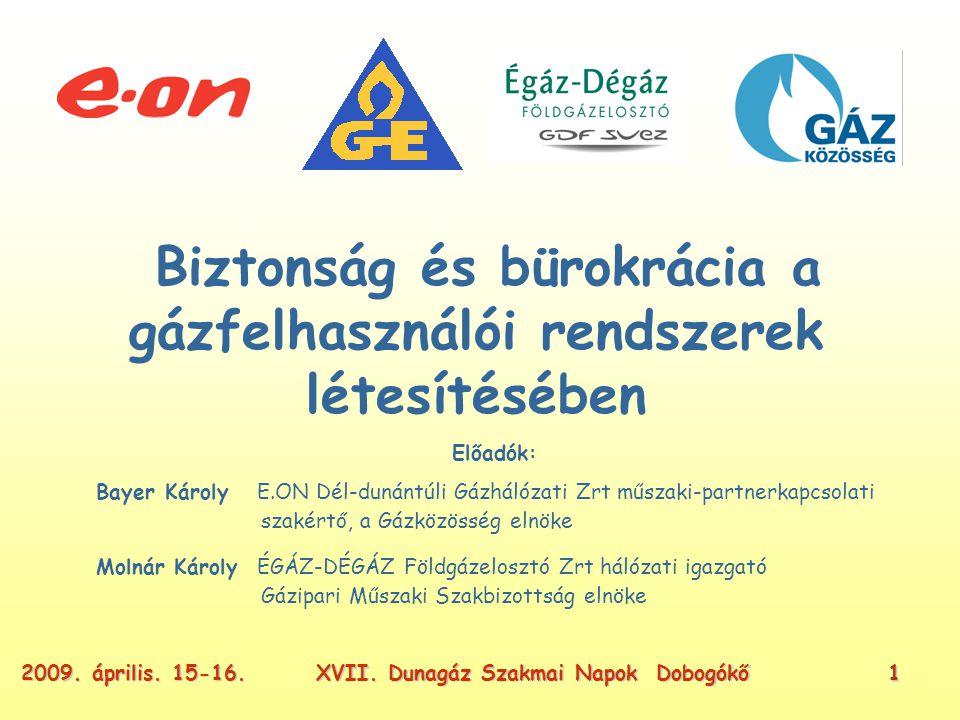 XVII. Dunagáz Szakmai Napok Dobogókő22009. április. 15-16. A más rétje mindig zöldebb (?)