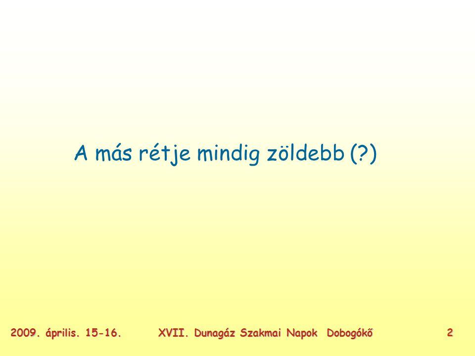 XVII. Dunagáz Szakmai Napok Dobogókő22009. április. 15-16. A más rétje mindig zöldebb ( )