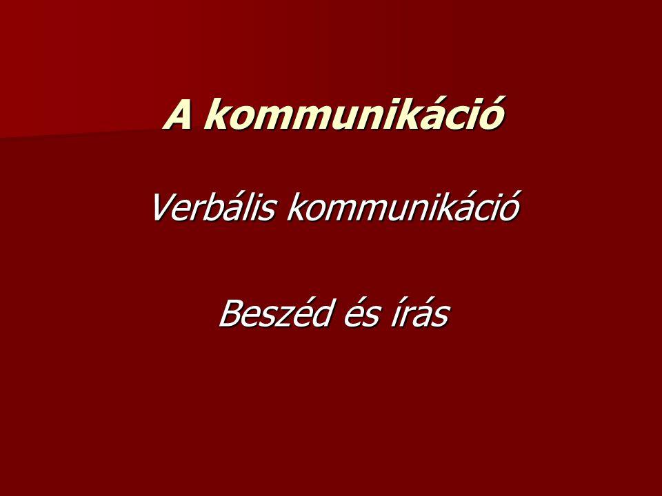 A kommunikáció Verbális kommunikáció Beszéd és írás