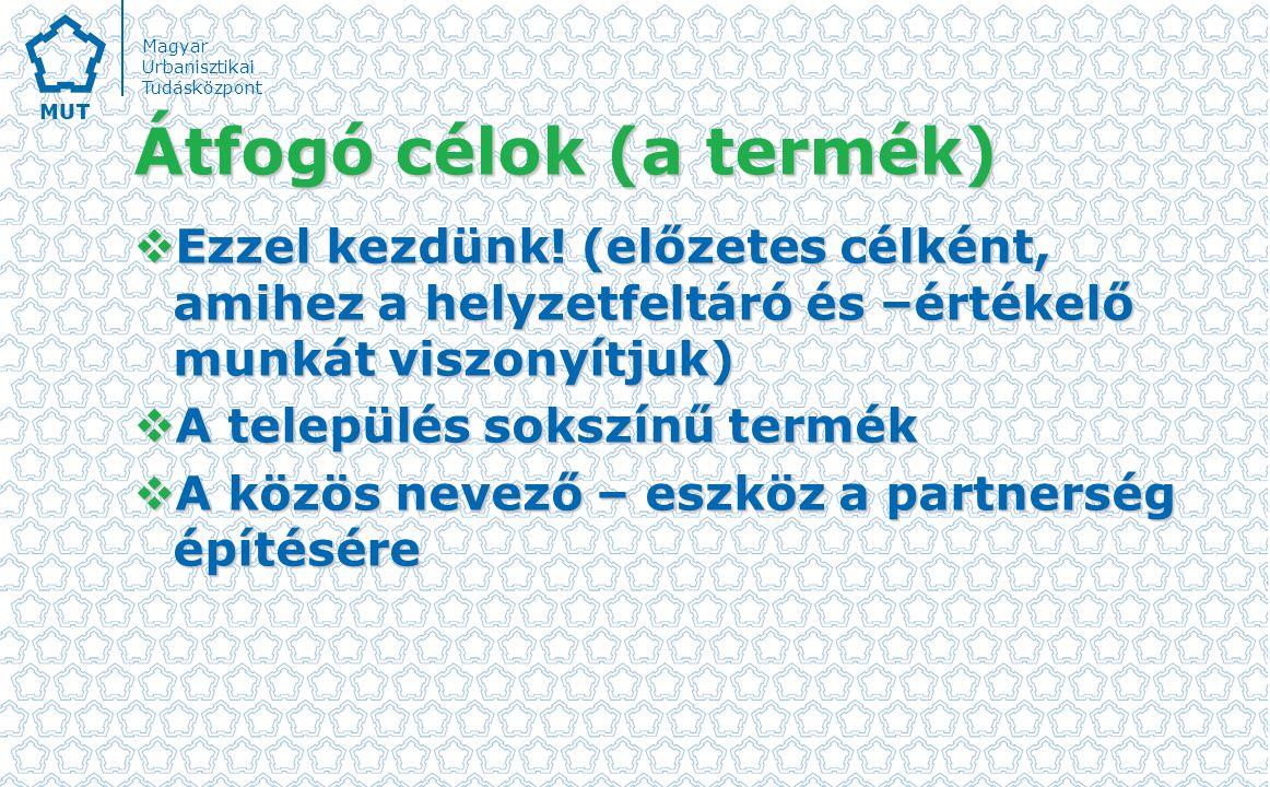 Magyar Urbanisztikai Tudásközpont Átfogó célok (a termék)  Ezzel kezdünk.