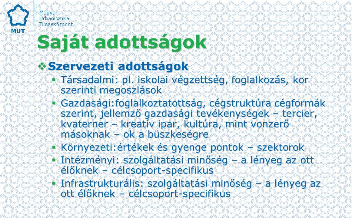 Magyar Urbanisztikai Tudásközpont Saját adottságok  Szervezeti adottságok  Társadalmi: pl.