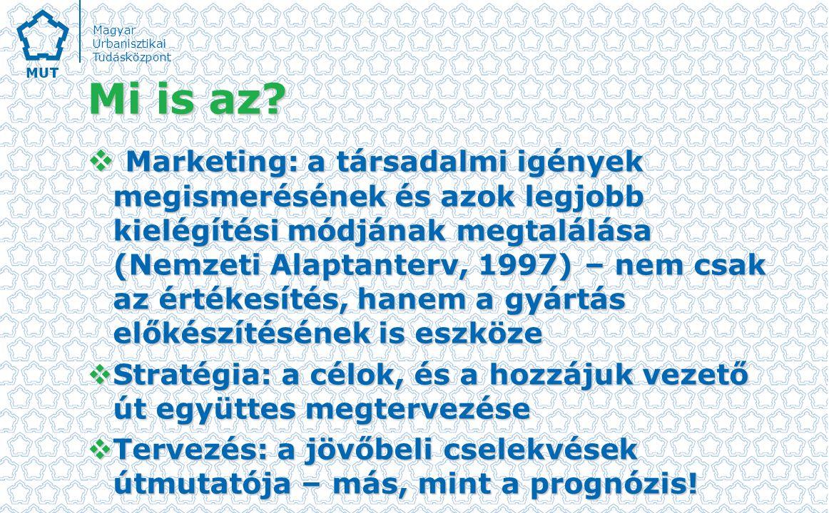 Magyar Urbanisztikai Tudásközpont Város/településmarketing  A városmarketing a városfejlesztés egyik legfontosabb eszköze.