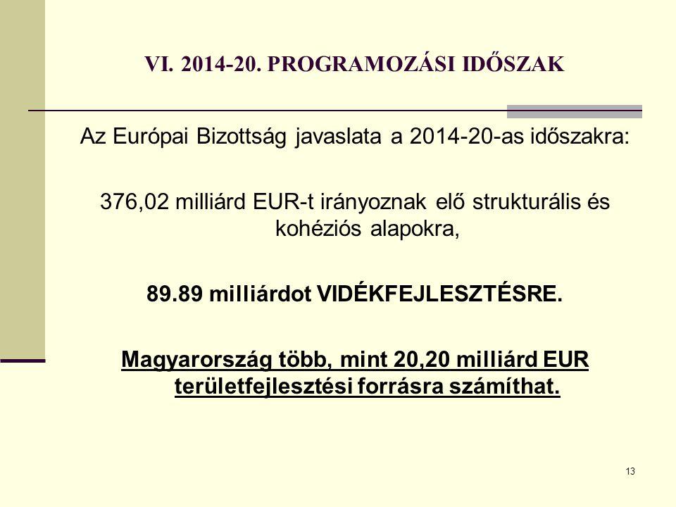 13 VI. 2014-20. PROGRAMOZÁSI IDŐSZAK Az Európai Bizottság javaslata a 2014-20-as időszakra: 376,02 milliárd EUR-t irányoznak elő strukturális és kohéz