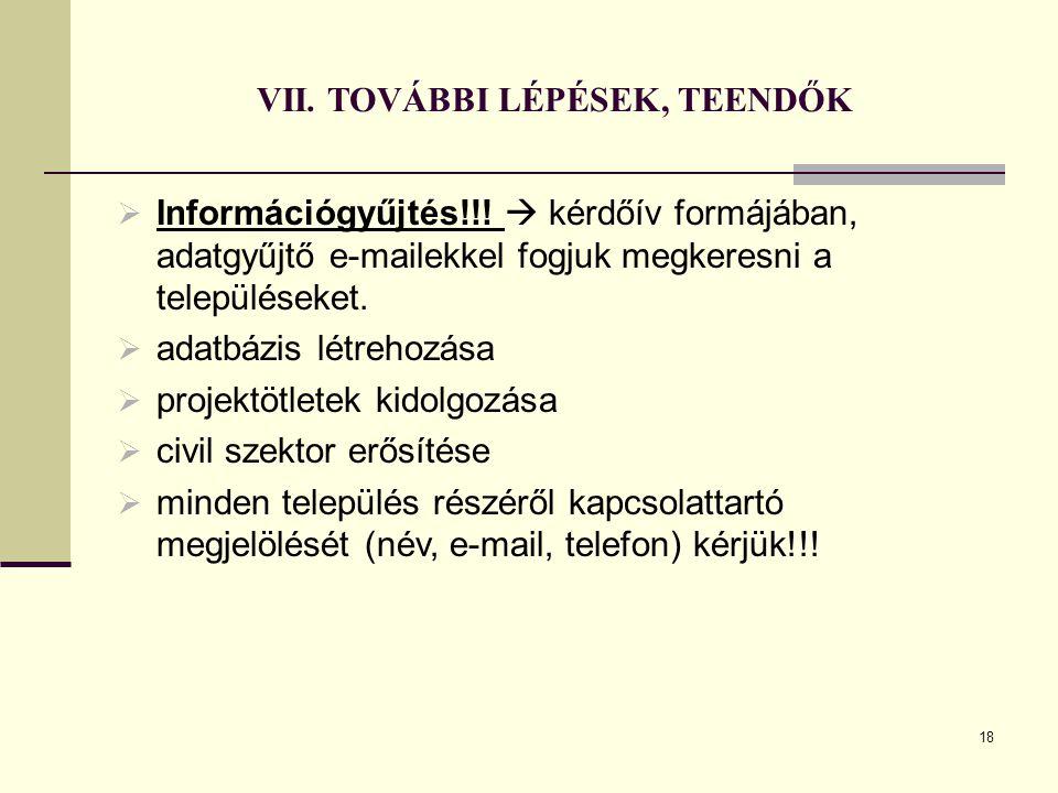VII. TOVÁBBI LÉPÉSEK, TEENDŐK  Információgyűjtés!!.