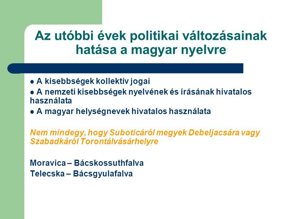 Az utóbbi évek politikai változásainak hatása a magyar nyelvre  A kisebbségek kollektív jogai  A nemzeti kisebbségek nyelvének és írásának hivatalos használata  A magyar helységnevek hivatalos használata Nem mindegy, hogy Suboticáról megyek Debeljacsára vagy Szabadkáról Torontálvásárhelyre Moravica – Bácskossuthfalva Telecska – Bácsgyulafalva