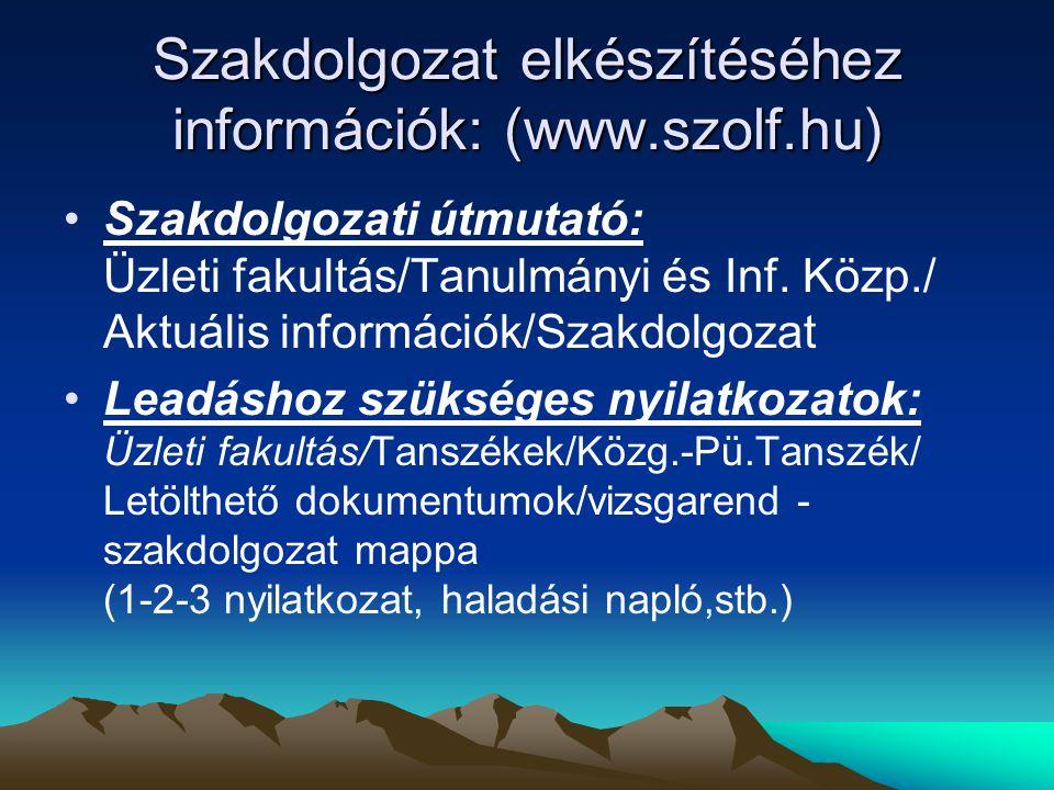 Szakdolgozat elkészítéséhez információk: (www.szolf.hu) •Szakdolgozati útmutató: Üzleti fakultás/Tanulmányi és Inf.