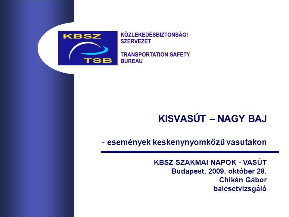 KISVASÚT – NAGY BAJ - események keskenynyomközű vasutakon KBSZ SZAKMAI NAPOK - VASÚT Budapest, 2009. október 28. Chikán Gábor balesetvizsgáló
