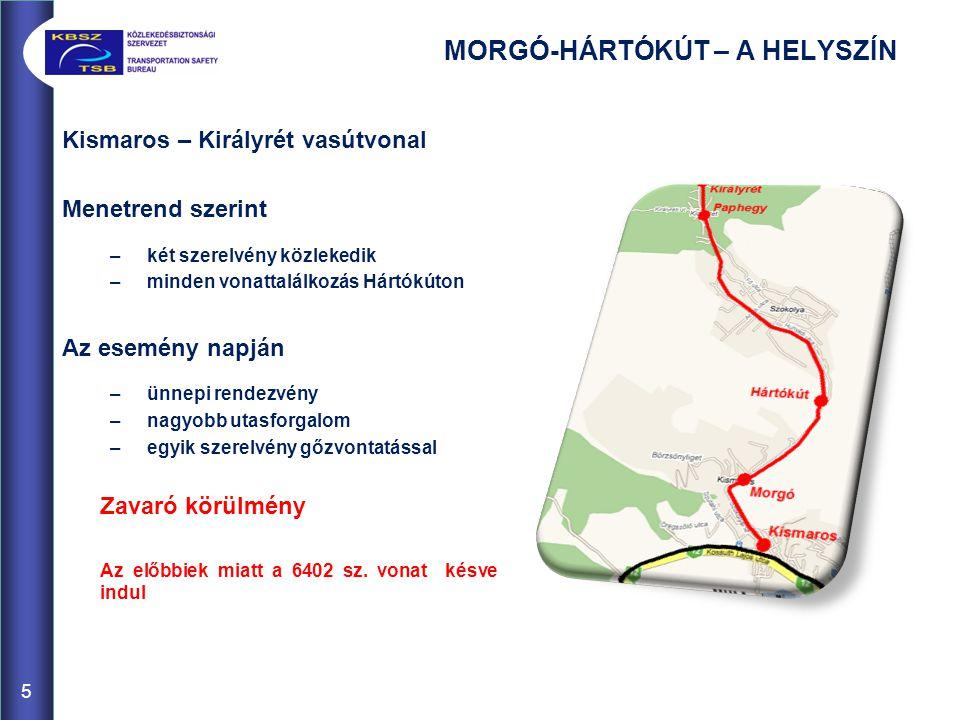 MORGÓ-HÁRTÓKÚT – SZERVEZETI HÁTTÉR Kis üzemméret  alacsony létszám  munkakör összevonások –állomási személyzet nincs (vonatszemélyzet) –önálló forgalmi szolgálattevő nincs (általában az egyik mozdonyvezető) –közlekedés egy vonatkísérővel Az esemény napján –a forgalmi szolgálattevő egyben vonatvezető a nosztalgiavonaton (azaz kereskedelmi dolgozó is) –a nosztalgiavonat 3 vonatkísérővel közlekedik 6
