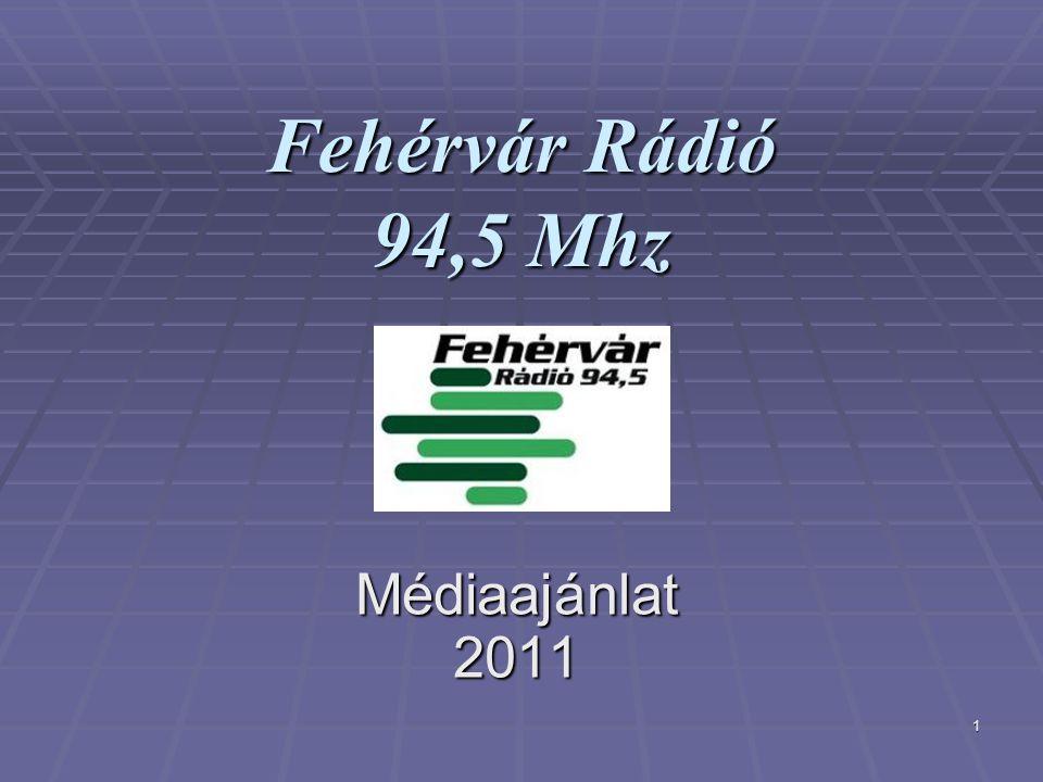 1 Fehérvár Rádió 94,5 Mhz Médiaajánlat 2011 Médiaajánlat 2011