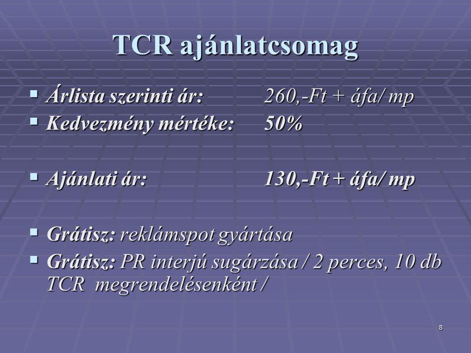 8 TCR ajánlatcsomag  Árlista szerinti ár: 260,-Ft + áfa/ mp  Kedvezmény mértéke: 50%  Ajánlati ár: 130,-Ft + áfa/ mp  Grátisz: reklámspot gyártása  Grátisz: PR interjú sugárzása / 2 perces, 10 db TCR megrendelésenként /