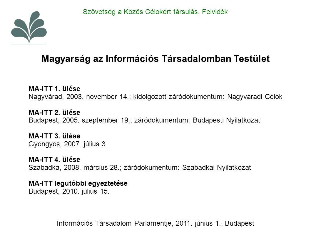 MA-ITT 1. ülése Nagyvárad, 2003. november 14.; kidolgozott záródokumentum: Nagyváradi Célok MA-ITT 2. ülése Budapest, 2005. szeptember 19.; záródokume