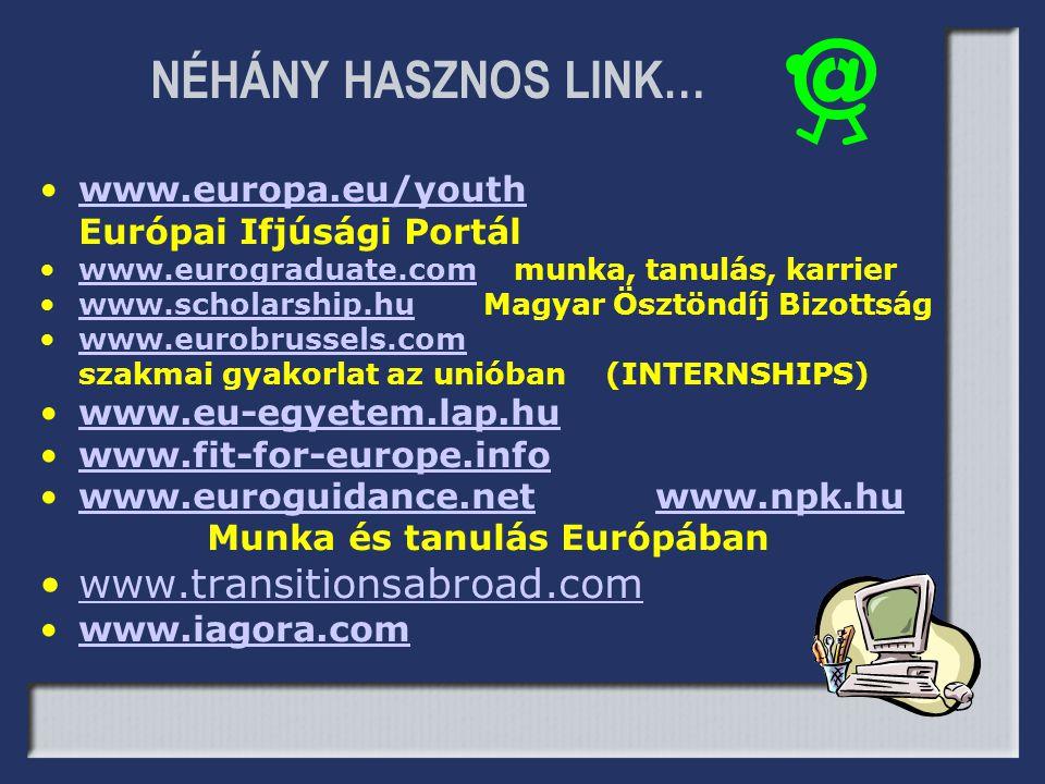 NÉHÁNY HASZNOS LINK… •www.europa.eu/youthwww.europa.eu/youth Európai Ifjúsági Portál •www.eurograduate.com munka, tanulás, karrierwww.eurograduate.com