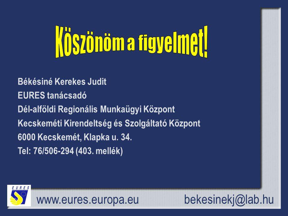 www.eures.europa.eu Békésiné Kerekes Judit EURES tanácsadó Dél-alföldi Regionális Munkaügyi Központ Kecskeméti Kirendeltség és Szolgáltató Központ 6000 Kecskemét, Klapka u.
