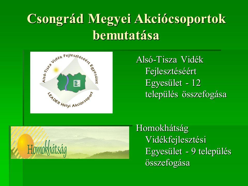 Csongrád Megyei Akciócsoportok bemutatása Alsó-Tisza Vidék Fejlesztéséért Egyesület - 12 település összefogása Homokhátság Vidékfejlesztési Egyesület - 9 település összefogása