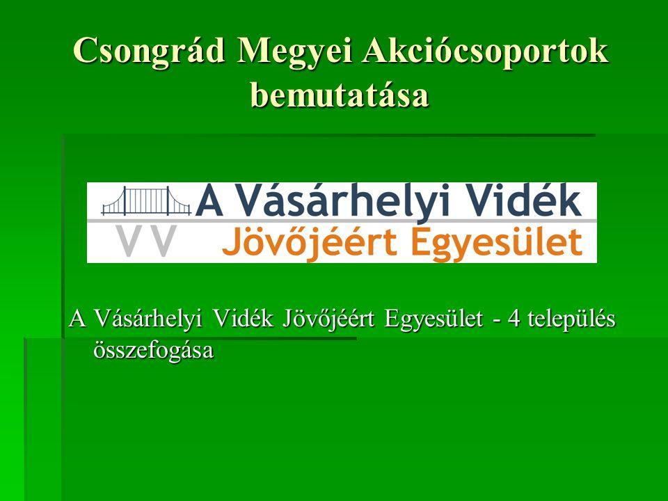 Csongrád Megyei Akciócsoportok bemutatása A Vásárhelyi Vidék Jövőjéért Egyesület - 4 település összefogása