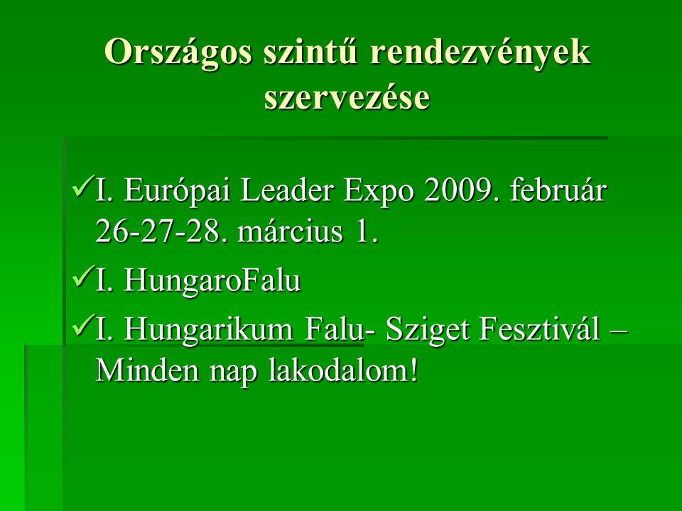 Országos szintű rendezvények szervezése  I.Európai Leader Expo 2009.