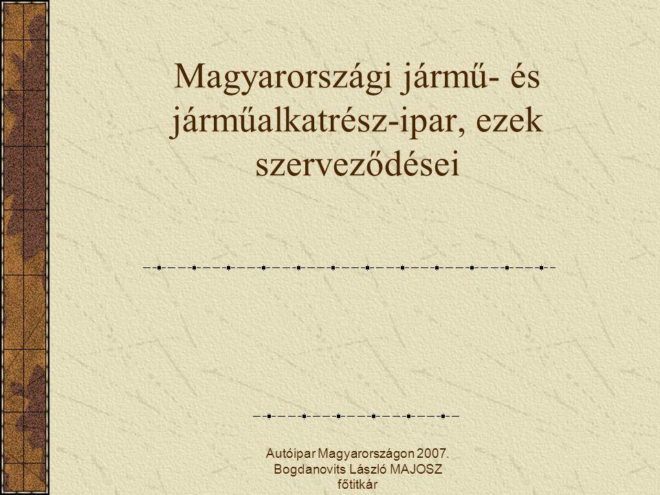 Autóipar Magyarországon 2007. Bogdanovits László MAJOSZ főtitkár Magyarországi jármű- és járműalkatrész-ipar, ezek szerveződései