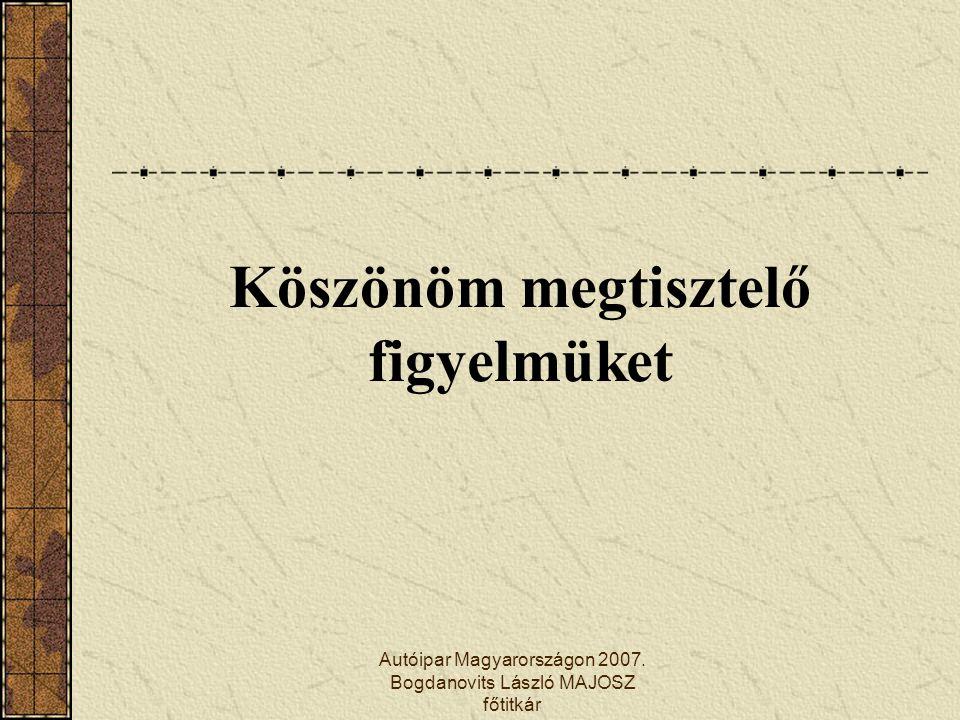 Autóipar Magyarországon 2007. Bogdanovits László MAJOSZ főtitkár Köszönöm megtisztelő figyelmüket