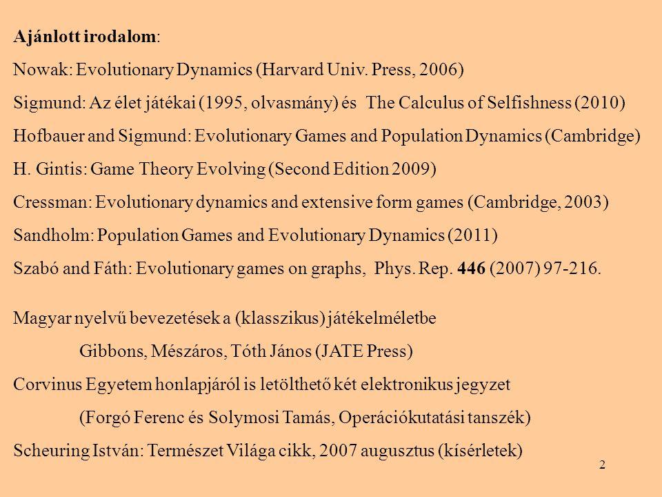 2 Ajánlott irodalom: Nowak: Evolutionary Dynamics (Harvard Univ. Press, 2006) Sigmund: Az élet játékai (1995, olvasmány) és The Calculus of Selfishnes