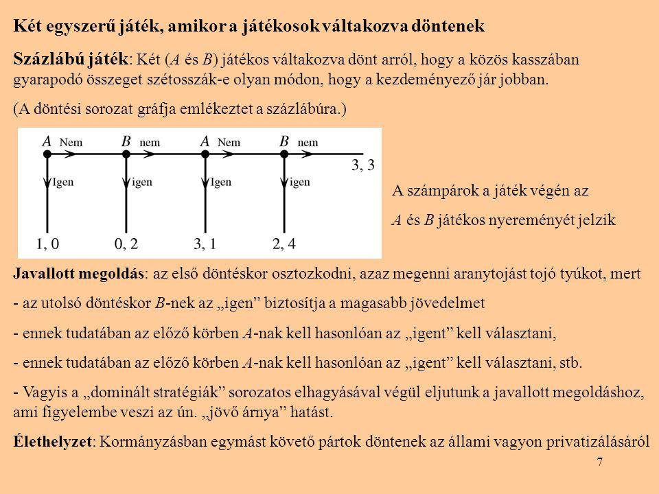 7 Két egyszerű játék, amikor a játékosok váltakozva döntenek Százlábú játék: Két (A és B) játékos váltakozva dönt arról, hogy a közös kasszában gyarapodó összeget szétosszák-e olyan módon, hogy a kezdeményező jár jobban.