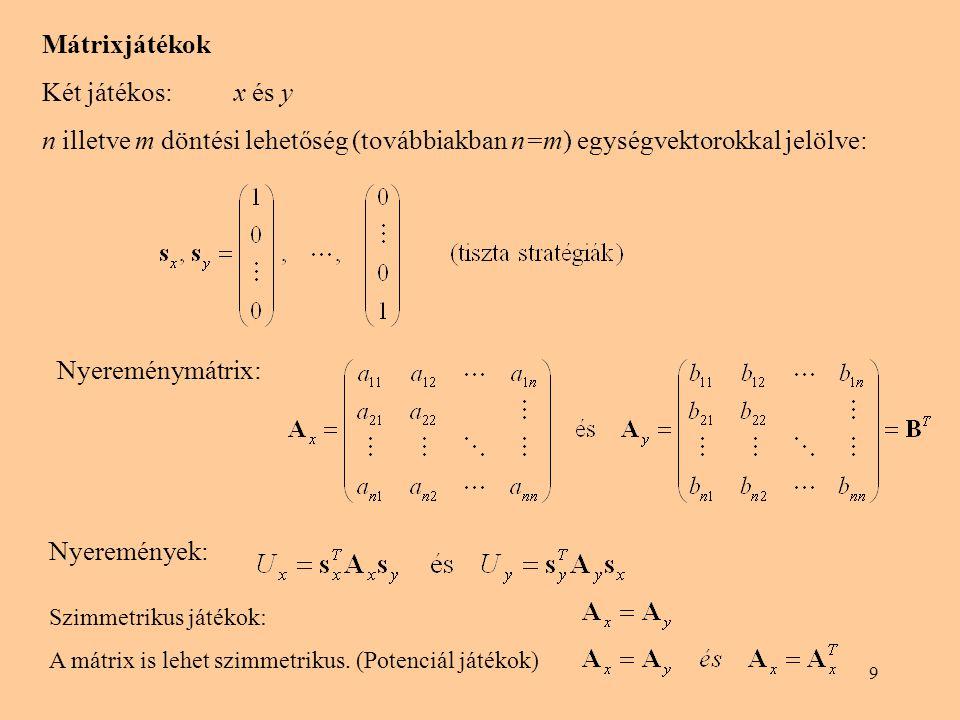 9 Mátrixjátékok Két játékos: x és y n illetve m döntési lehetőség (továbbiakban n=m) egységvektorokkal jelölve: Nyereménymátrix: Nyeremények: Szimmetrikus játékok: A mátrix is lehet szimmetrikus.