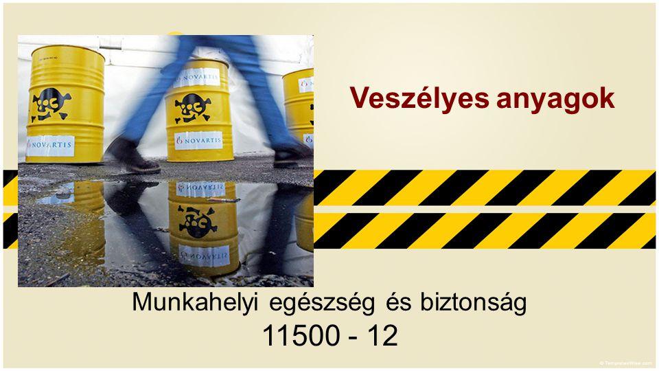 Munkahelyi egészség és biztonság 11500 - 12 Veszélyes anyagok