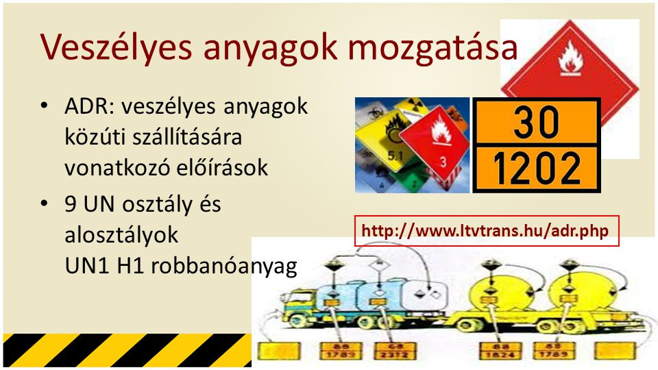 Veszélyes anyagok mozgatása • ADR: veszélyes anyagok közúti szállítására vonatkozó előírások • 9 UN osztály és alosztályok UN1 H1 robbanóanyag http://