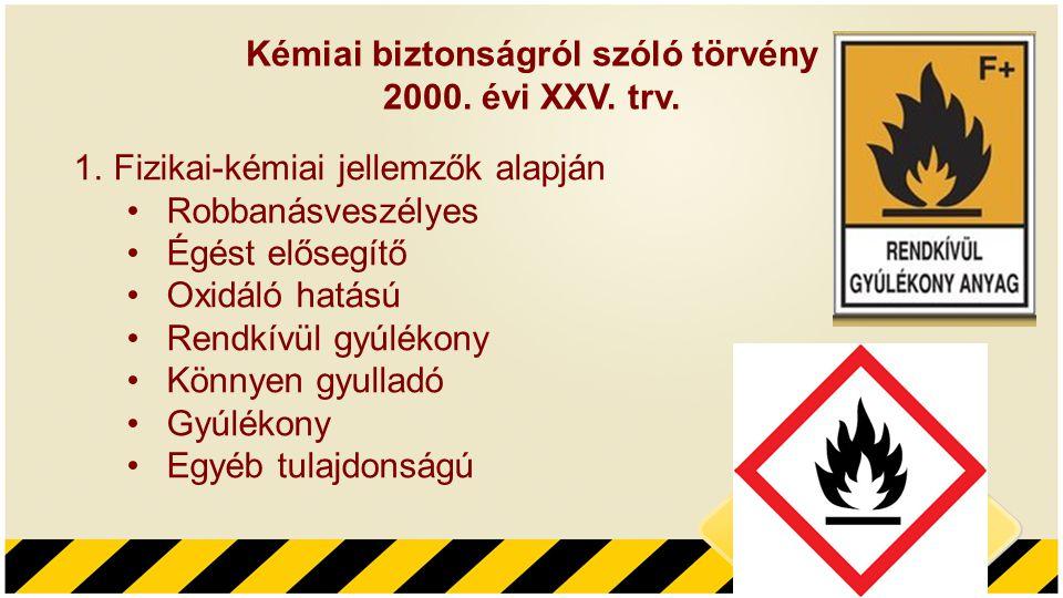 Kémiai biztonságról szóló törvény 2000. évi XXV. trv. 1.Fizikai-kémiai jellemzők alapján •Robbanásveszélyes •Égést elősegítő •Oxidáló hatású •Rendkívü
