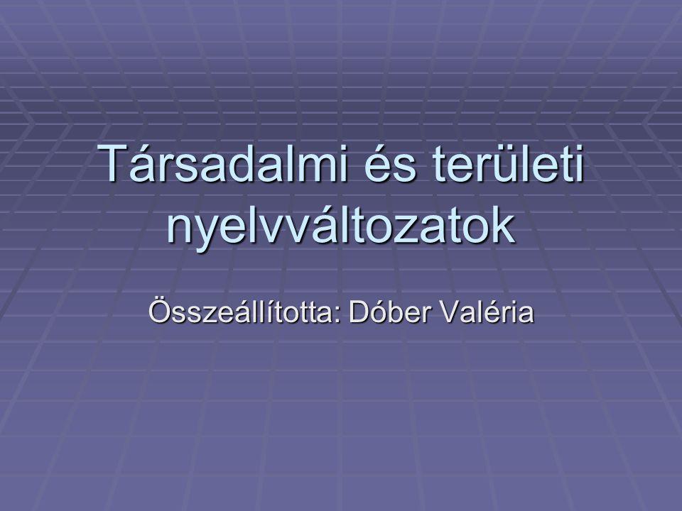 Társadalmi és területi nyelvváltozatok Összeállította: Dóber Valéria