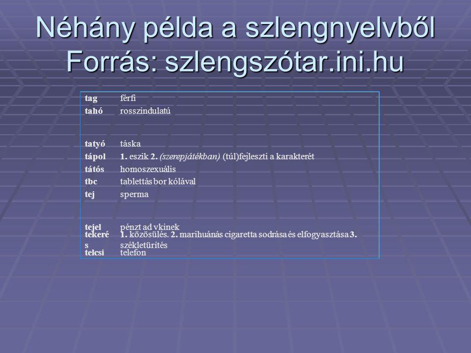 Néhány példa a szlengnyelvből Forrás: szlengszótar.ini.hu tagférfi tahórosszindulatú tatyótáska tápol1.