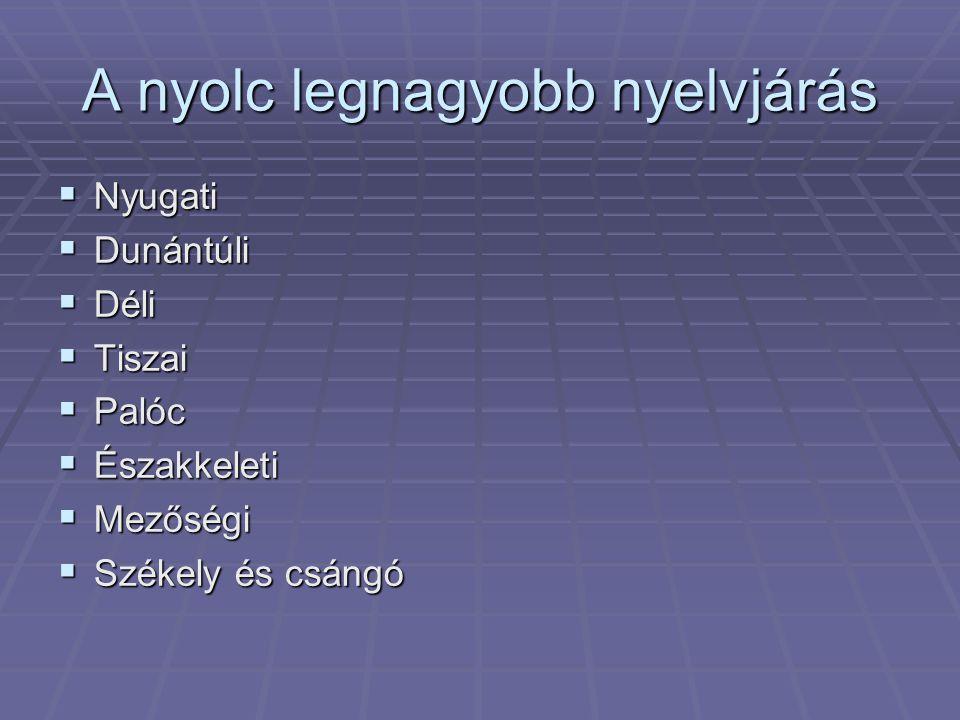 A nyolc legnagyobb nyelvjárás  Nyugati  Dunántúli  Déli  Tiszai  Palóc  Északkeleti  Mezőségi  Székely és csángó