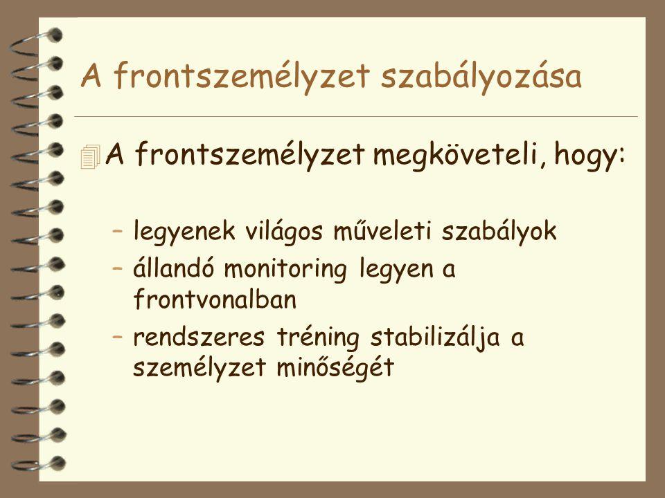 A frontszemélyzet szabályozása 4 A frontszemélyzet megköveteli, hogy: –legyenek világos műveleti szabályok –állandó monitoring legyen a frontvonalban –rendszeres tréning stabilizálja a személyzet minőségét