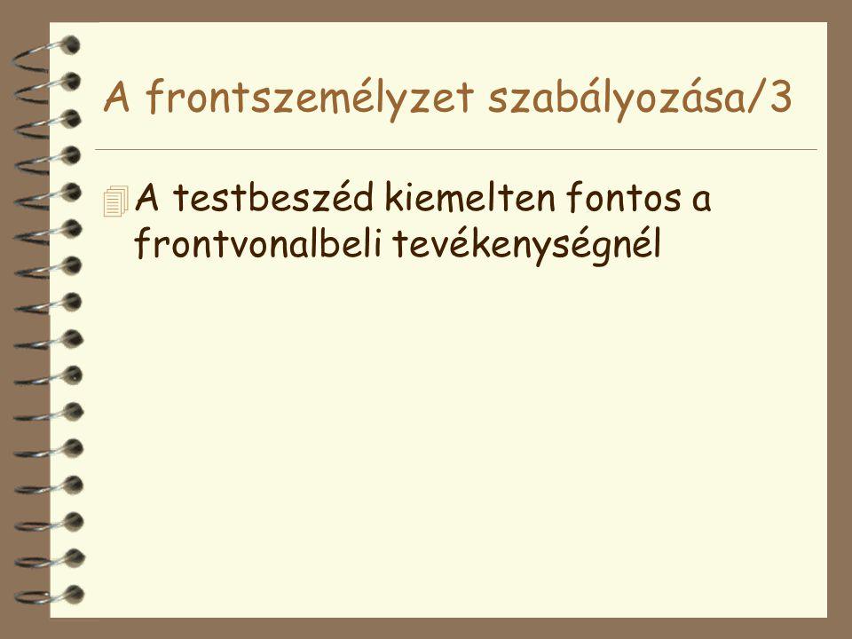 A frontszemélyzet szabályozása/3 4 A testbeszéd kiemelten fontos a frontvonalbeli tevékenységnél