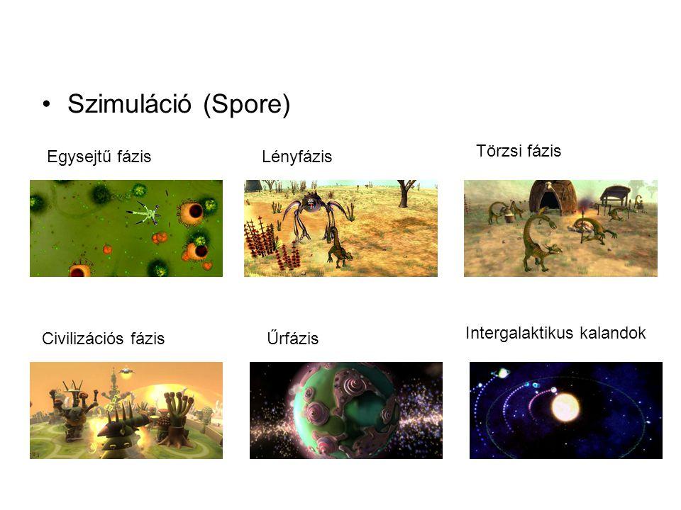 •Szimuláció (Spore) Egysejtű fázisLényfázis Törzsi fázis Civilizációs fázisŰrfázis Intergalaktikus kalandok