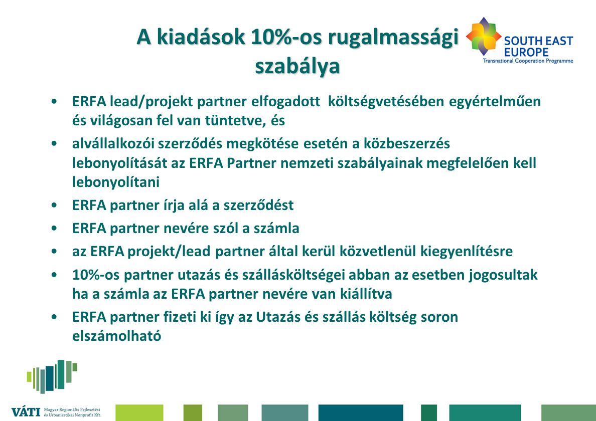 A kiadások 10%-os rugalmassági szabálya •ERFA lead/projekt partner elfogadott költségvetésében egyértelműen és világosan fel van tüntetve, és •alvállalkozói szerződés megkötése esetén a közbeszerzés lebonyolítását az ERFA Partner nemzeti szabályainak megfelelően kell lebonyolítani •ERFA partner írja alá a szerződést •ERFA partner nevére szól a számla •az ERFA projekt/lead partner által kerül közvetlenül kiegyenlítésre •10%-os partner utazás és szállásköltségei abban az esetben jogosultak ha a számla az ERFA partner nevére van kiállítva •ERFA partner fizeti ki így az Utazás és szállás költség soron elszámolható