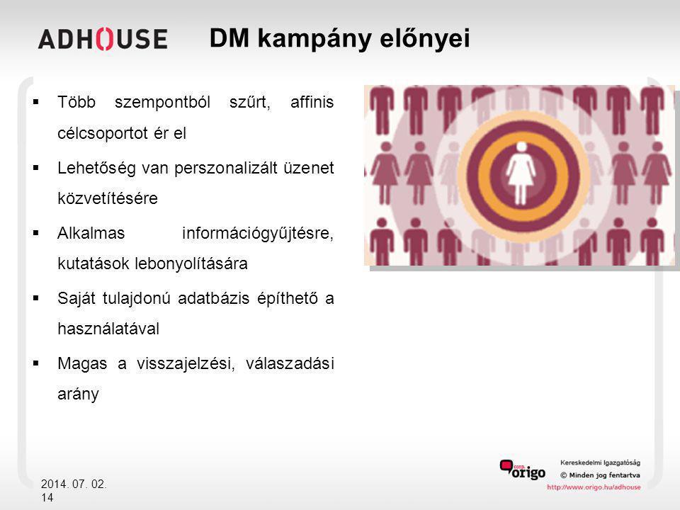 DM kampány előnyei  Több szempontból szűrt, affinis célcsoportot ér el  Lehetőség van perszonalizált üzenet közvetítésére  Alkalmas információgyűjtésre, kutatások lebonyolítására  Saját tulajdonú adatbázis építhető a használatával  Magas a visszajelzési, válaszadási arány 2014.