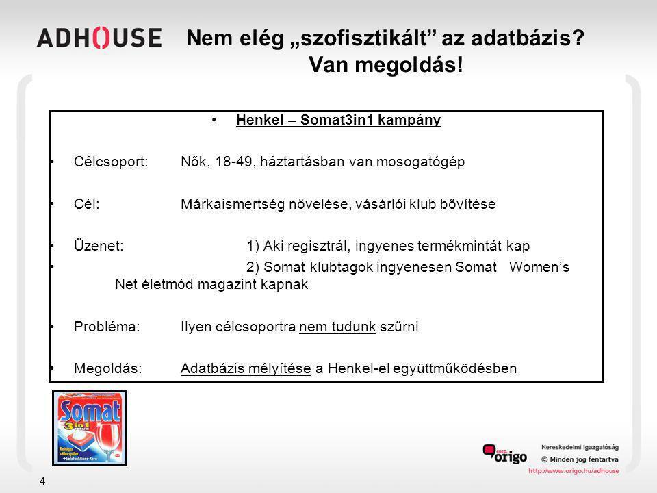 """4 Nem elég """"szofisztikált"""" az adatbázis? Van megoldás! •Henkel – Somat3in1 kampány •Célcsoport: Nők, 18-49, háztartásban van mosogatógép •Cél:Márkaism"""
