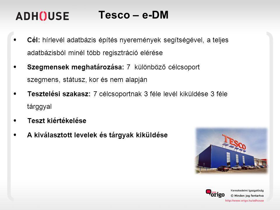 Tesco – e-DM • Cél: hírlevél adatbázis építés nyeremények segítségével, a teljes adatbázisból minél több regisztráció elérése • Szegmensek meghatározá