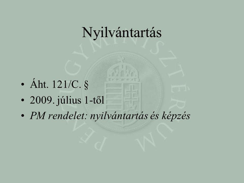 Nyilvántartás •Áht. 121/C. § •2009. július 1-től •PM rendelet: nyilvántartás és képzés