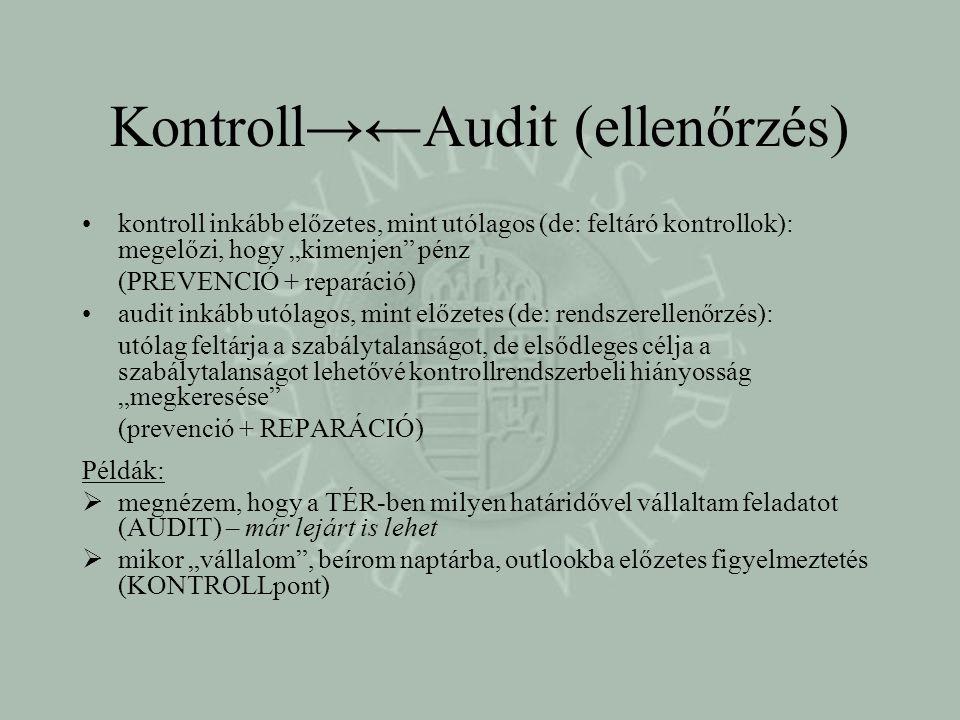 """Kontroll→←Audit (ellenőrzés) •kontroll inkább előzetes, mint utólagos (de: feltáró kontrollok): megelőzi, hogy """"kimenjen pénz (PREVENCIÓ + reparáció) •audit inkább utólagos, mint előzetes (de: rendszerellenőrzés): utólag feltárja a szabálytalanságot, de elsődleges célja a szabálytalanságot lehetővé kontrollrendszerbeli hiányosság """"megkeresése (prevenció + REPARÁCIÓ) Példák:  megnézem, hogy a TÉR-ben milyen határidővel vállaltam feladatot (AUDIT) – már lejárt is lehet  mikor """"vállalom , beírom naptárba, outlookba előzetes figyelmeztetés (KONTROLLpont)"""
