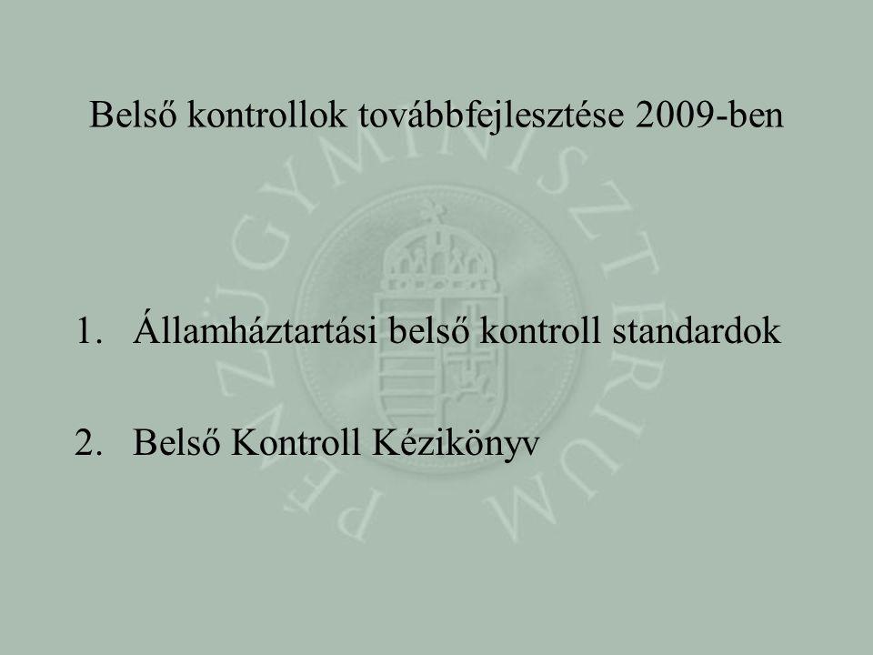 Belső kontrollok továbbfejlesztése 2009-ben 1.Államháztartási belső kontroll standardok 2.Belső Kontroll Kézikönyv