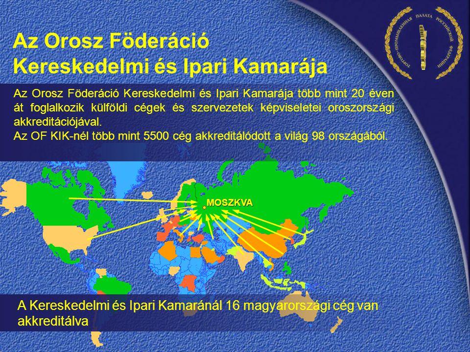 A Kereskedelmi és Ipari Kamaránál 16 magyarországi cég van akkreditálva MOSZKVA Az Orosz Föderáció Kereskedelmi és Ipari Kamarája több mint 20 éven át foglalkozik külföldi cégek és szervezetek képviseletei oroszországi akkreditációjával.