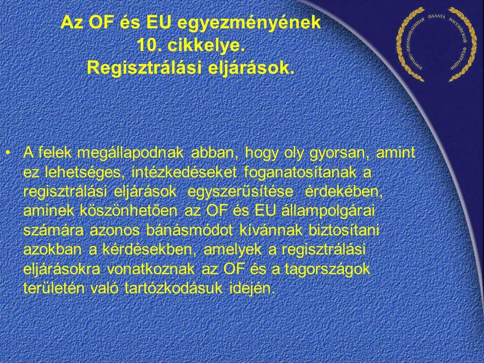 Az OF és EU egyezményének 10. cikkelye. Regisztrálási eljárások.