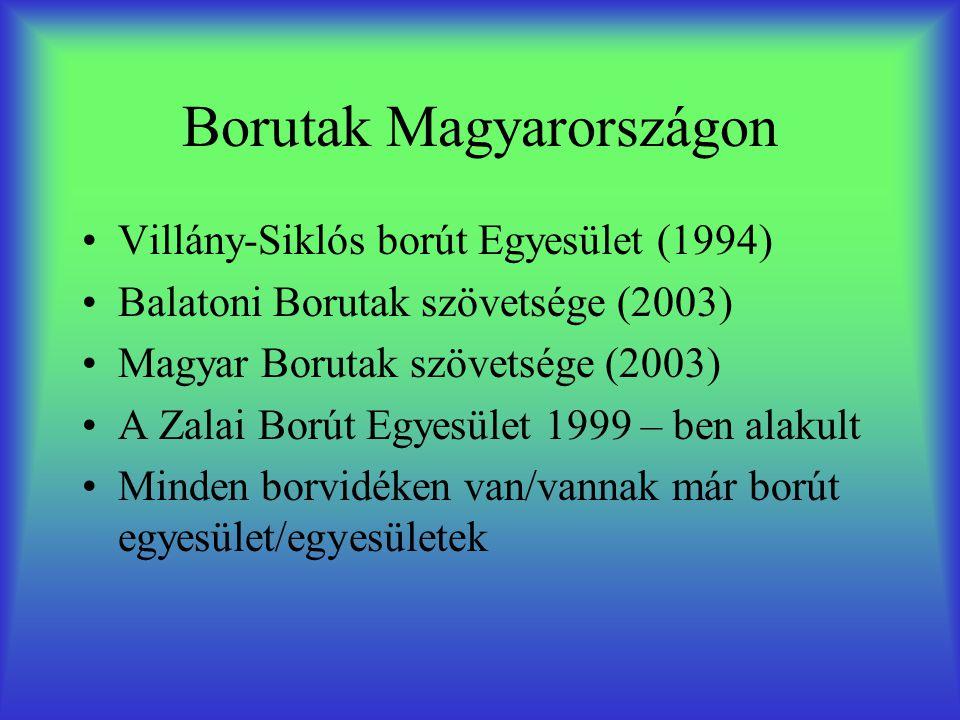 Borutak Magyarországon •Villány-Siklós borút Egyesület (1994) •Balatoni Borutak szövetsége (2003) •Magyar Borutak szövetsége (2003) •A Zalai Borút Egyesület 1999 – ben alakult •Minden borvidéken van/vannak már borút egyesület/egyesületek