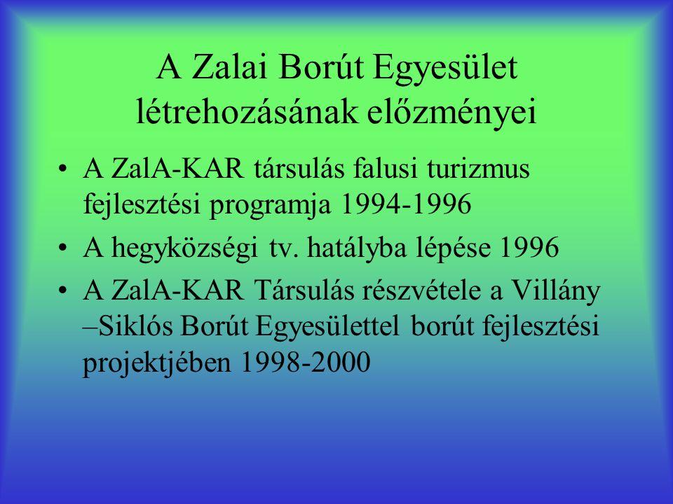 A Zalai Borút Egyesület létrehozásának előzményei •A ZalA-KAR társulás falusi turizmus fejlesztési programja 1994-1996 •A hegyközségi tv. hatályba lép