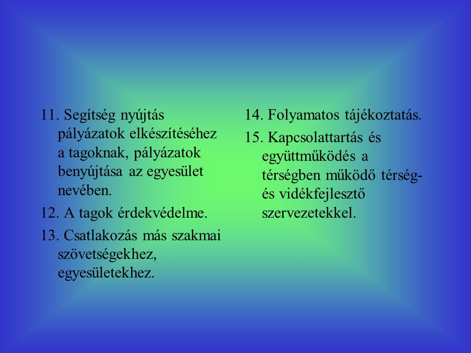 11. Segítség nyújtás pályázatok elkészítéséhez a tagoknak, pályázatok benyújtása az egyesület nevében. 12. A tagok érdekvédelme. 13. Csatlakozás más s
