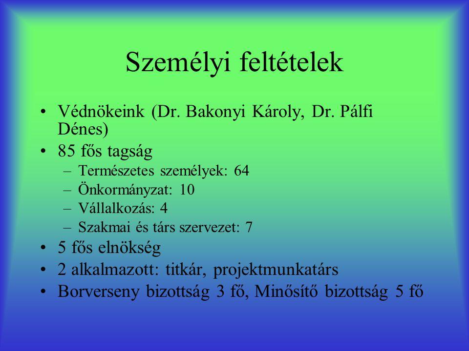 Személyi feltételek •Védnökeink (Dr. Bakonyi Károly, Dr. Pálfi Dénes) •85 fős tagság –Természetes személyek: 64 –Önkormányzat: 10 –Vállalkozás: 4 –Sza