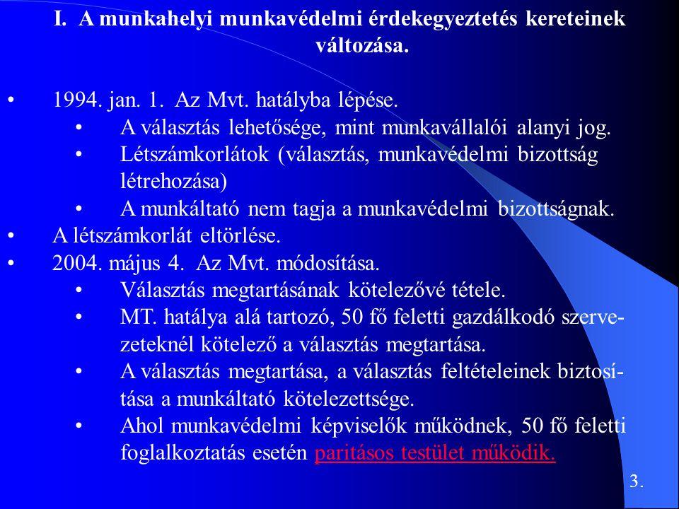 I. A munkahelyi munkavédelmi érdekegyeztetés kereteinek változása. •1994. jan. 1. Az Mvt. hatályba lépése. •A választás lehetősége, mint munkavállalói