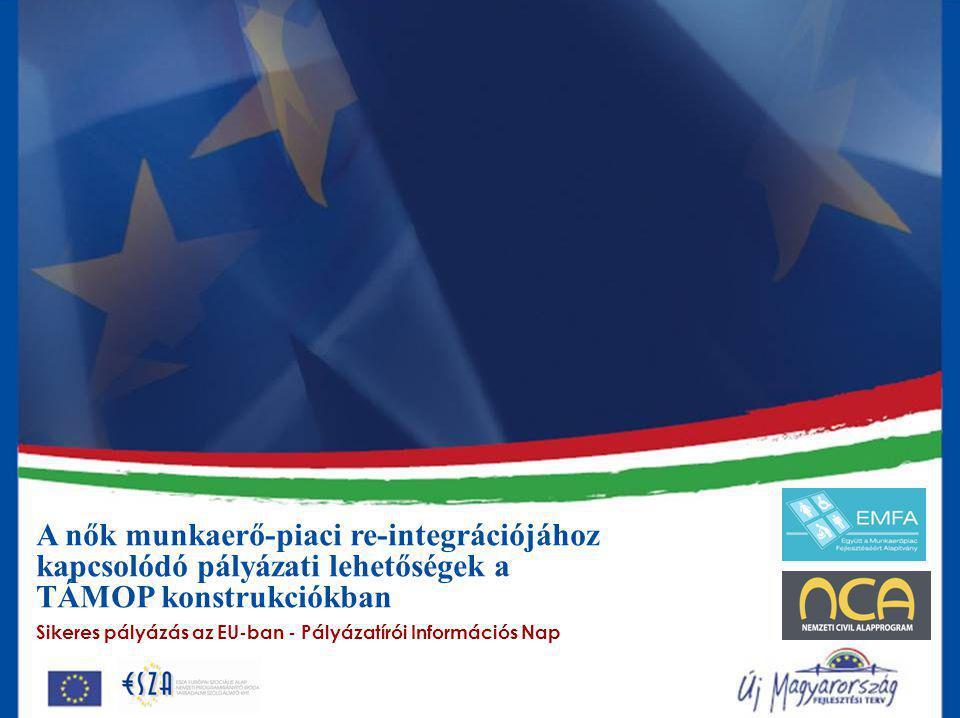 A nők munkaerő-piaci re-integrációjához kapcsolódó pályázati lehetőségek a TÁMOP konstrukciókban Sikeres pályázás az EU-ban - Pályázatírói Információs Nap