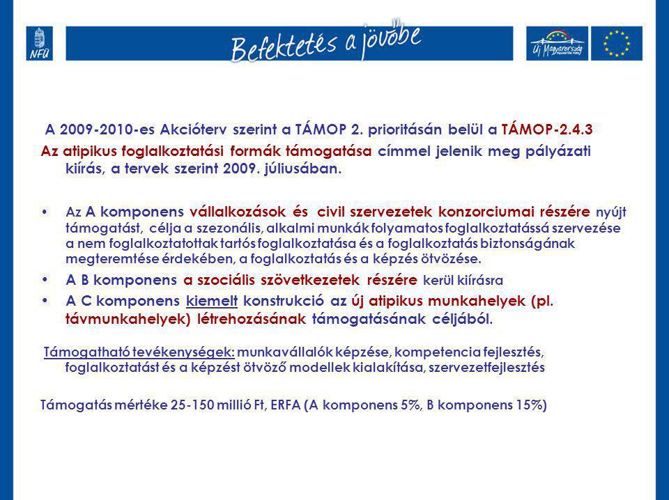 A 2009-2010-es Akcióterv szerint a TÁMOP 2. prioritásán belül a TÁMOP-2.4.3 Az atipikus foglalkoztatási formák támogatása címmel jelenik meg pályázati